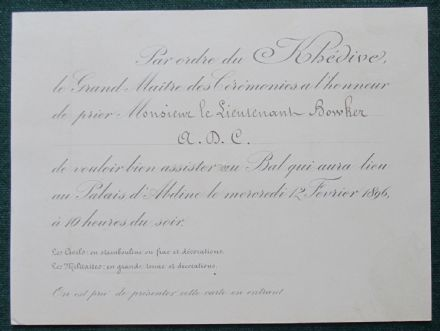 Antique Invitation to Ball from Abbas II Hilmi Bey Last Khedive Ottoman Viceroy